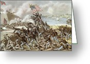 Patriotism Painting Greeting Cards - Black troops of the Fifty Fourth Massachusetts Regiment during the assault of Fort Wagner Greeting Card by American School