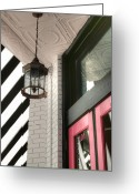 One Small Window Greeting Cards - Black White and Pink 101 Greeting Card by Kathy Clark