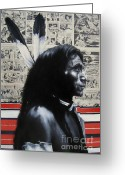 Ryan Jones Art Greeting Cards - Black White and Read All Over - Indian Chief Greeting Card by Ryan Jones