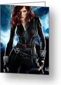 Sheild Greeting Cards - Black Widow Greeting Card by Tom Carlton
