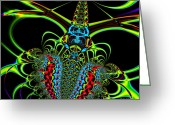 Mandelbrot Set Greeting Cards - Black Widow Greeting Card by Wingsdomain Art and Photography