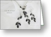 Earrings Photo Greeting Cards - Black Zircon Greeting Card by Eena Bo