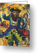 Pirates Greeting Cards - Blackbeard Greeting Card by Richard Hook