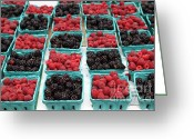 Fruit Basket Greeting Cards - Blackberries and Rasberries - 5D17827 Greeting Card by Wingsdomain Art and Photography