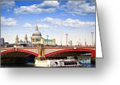 Paul Photo Greeting Cards - Blackfriars Bridge and St. Pauls Cathedral in London Greeting Card by Elena Elisseeva