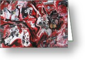Hockey Mixed Media Greeting Cards - Blackhawks mural Greeting Card by John Sabey Jr