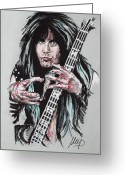 Guitar Pastels Greeting Cards - Blackie Lawless Greeting Card by Melanie D