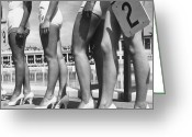 Woman In Pool Greeting Cards - Blackpool Beauties Greeting Card by Alex Dellow