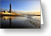 Big Wheel Greeting Cards - Blackpool Tower Greeting Card by Jason Connolly