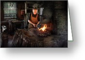 Dark Greeting Cards - Blacksmith - Blacksmiths like it hot Greeting Card by Mike Savad