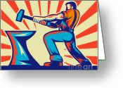 Male Greeting Cards - Blacksmith worker with hammer Greeting Card by Aloysius Patrimonio