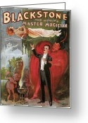 Magic Trick Greeting Cards - Blackstone the Worlds Master Magician Greeting Card by Unknown