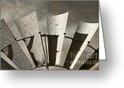 Antique Fan Greeting Cards - Blades - Sepia Texture Greeting Card by Bob and Nancy Kendrick