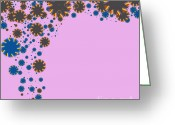 Saw Blade Greeting Cards - Blades On Purple Greeting Card by Atiketta Sangasaeng