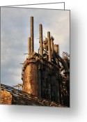 "\""steel Mill\\\"" Greeting Cards - Blast Furnaces - Bethlehem Pa Greeting Card by DJ Florek"