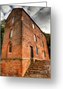 Brick Greeting Cards - Blast Furnaces 1830s Greeting Card by Adrian Evans