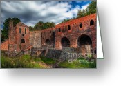 Stone Chimney Greeting Cards - Blast Furnaces Greeting Card by Adrian Evans
