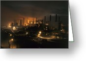 Factories Greeting Cards - Blast Furnaces Of A Steel Mill Light Greeting Card by J. Baylor Roberts
