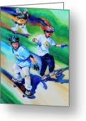Skate Greeting Cards - Blasting Boarders Greeting Card by Hanne Lore Koehler