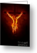 Spirituality Digital Art Greeting Cards - Blazing Jesus Crucifixion Greeting Card by Pamela Johnson