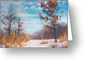 Woods Pastels Greeting Cards - Blazing Winter Grasses Greeting Card by Christine Kane