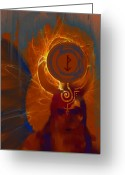 Figurative Mixed Media Greeting Cards - Blazzing Wisdom Through Odins Essence Greeting Card by Stephen Lucas