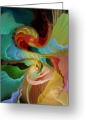 Fractal Art Pastels Greeting Cards - Blending into Our Souls Greeting Card by Gayle Odsather