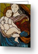 Raphael Glass Art Greeting Cards - Blessed Art Thou Among Women-Mary Greeting Card by David Gomm