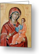 Icon Byzantine Greeting Cards - blessed Virgin Mary Greeting Card by George Siaba