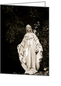 Surface Greeting Cards - Blessed Virgin Mary Greeting Card by Olivier Le Queinec