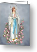 Religious Mixed Media Greeting Cards - Blessed Virgin Greeting Card by Valerian Ruppert