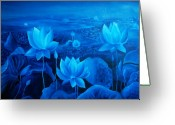 Lotus Leaves Greeting Cards - Blessing Greeting Card by Ramneek Narang