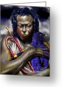 Singer Songwriter Greeting Cards - Blessings And Curses - Miles Davis Greeting Card by Reggie Duffie
