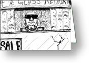 Glass Drawings Greeting Cards - Blind Eye Glass Repair Greeting Card by Jera Sky