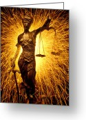 Statues Greeting Cards - Blind Justice  Greeting Card by Garry Gay