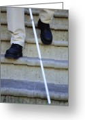 Stair Walk Greeting Cards - Blind Man Descending Stairs Greeting Card by Cristina Pedrazzini