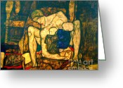 Crayon Painting Greeting Cards - Blind Mother by Egon Schiele Greeting Card by Pg Reproductions