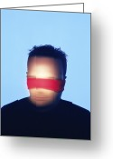 Secrecy Greeting Cards - Blindfolded Man Greeting Card by Cristina Pedrazzini