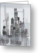 Skyscraper Mixed Media Greeting Cards - Blip 2  Greeting Card by Andy  Mercer