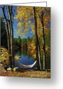 New England Autumn Greeting Cards - Bliss - New England Fall Landscape hammock Greeting Card by Jon Holiday