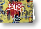 Outsider Art Mixed Media Greeting Cards - Bliss Is The Word Greeting Card by Robert Wolverton Jr