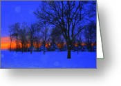 Winter Trees Greeting Cards - Blizzard Blues 2 Greeting Card by Julie Lueders