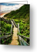 Staircase Greeting Cards - Block Island Greeting Card by Lourry Legarde