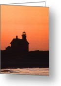 Lighthouse Artwork Greeting Cards - Block Island North West Lighthouse Sunset Greeting Card by Skip Willits