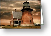 East Coast Digital Art Greeting Cards - Block Island Southeast Light Greeting Card by Lourry Legarde