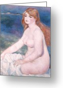 Undraped Greeting Cards - Blonde Bather II Greeting Card by Renoir