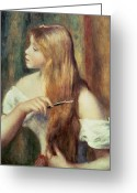 Blonde Girl Greeting Cards - Blonde girl combing her hair Greeting Card by Pierre Auguste Renoir