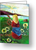 Blonde Girl Greeting Cards - Blonde Indian Weaves Her Basket by a Lake Greeting Card by Mindy Newman
