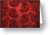 Red Abstract Greeting Cards - Blood Cells Greeting Card by Patricia Kemke