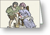 1100s Greeting Cards - Bloodletting, 12th Century Artwork Greeting Card by Sheila Terry